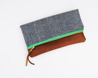 LINEN FOLDOVER CLUTCH, fold over clutch, blue clutch, linen clutch, everyday casual clutch, bridesmaid gifts, blue clutch