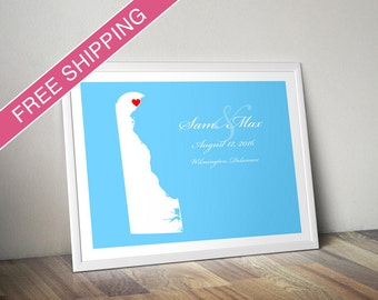 Personalized Delaware Wedding Gift : Custom Wedding Location and State Map Print - Wedding Guest Book Poster