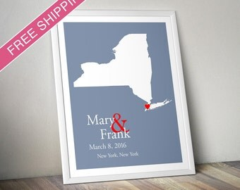 Custom Wedding Gift : Personalized Wedding Location and State Map Print - New York - Engagement Gift, Wedding Guest Book