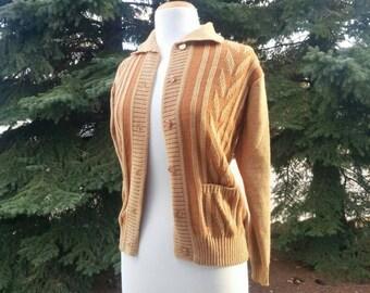 Vintage 1950s 1960s Orange Cardigan // Jade Spring Brand Cardigan // Orange Sweater