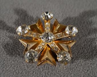 Vintage Art Deco Style Yellow Gold Tone Rhinestone Star Design Round Pin Brooch Jewelry    K#34