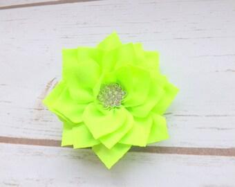 Neon green satin flower hair clip, girls hair clip, summer hair clip, flower hair accessory, hot pink summer flowers, UK seller