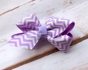 Purple chevron pinwheel bow hair clip, purple bow hair accessory, summer purple hair bow, girls hair clip, UK seller