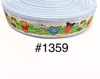"3 or 5 yard - 1"" Daniel The Tiger and Friends on White Grosgrain Ribbon Hair bow"