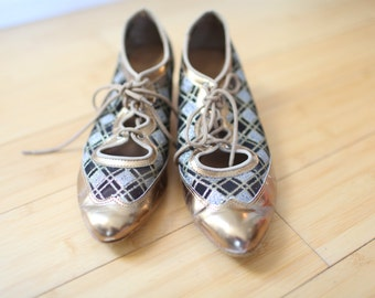 vintage plaid lace up oxfords metallic gold leather heels 8 *