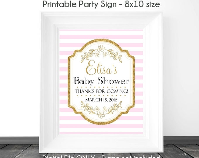 Baby Shower Printable Sign, Pink Stripe and Gold Printable Sign, Gold Accent with Pink Baby Shower Sign, 8x10, YOU PRINT