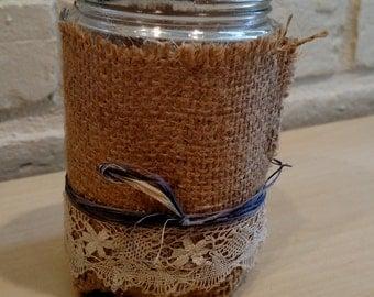 Burlap and Lace Mason Jar