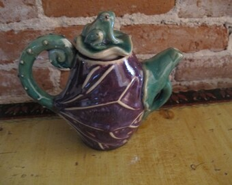 Vintage Small Pottery Frog Top Pitcher