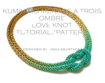 KUMIHIMO NECKLACE TUTORIAL Pattern, Ombre Love Knot Necklace in 3 colors,  Pdf Digital File
