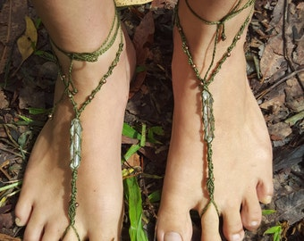 customizable macrame bare foot sandals