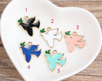 10 pcs of antique gold colorful peace dove charm pendants 19x18mm