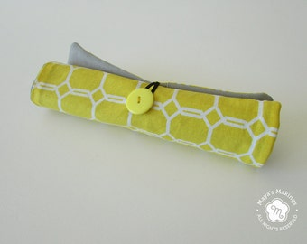 Yellow Roll Up Pencil Case - Small Pencil Organizer for 14 Pencils