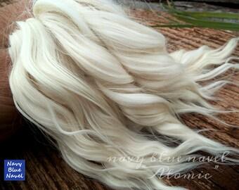 """7"""" rizos""""Atómicas""""de blanco lechosos, todos Rubio natural, lavado y peinado cerraduras de alpaca Suri, ideales para muñecas reroot de pelo peluca"""