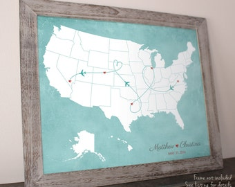 "Valentines Day Gift, Wedding Guest Book Alternative Map, Wedding Map, United States Map, sizes 5"" x 7"" up to 30"" x 40"""