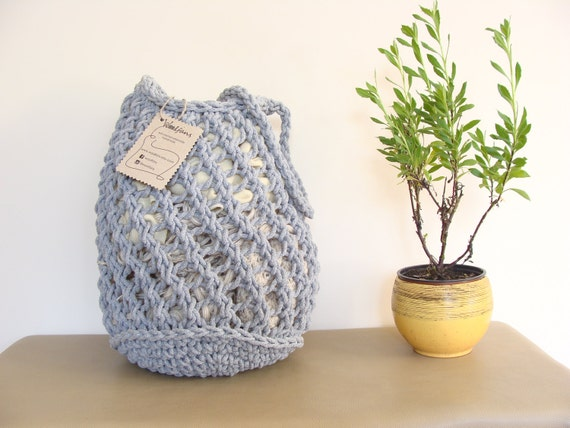 Hand Knit Gray Cotton Tote Bag Knitted Rope Bag Mesh Bag
