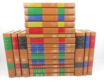 Great Books of the Western World, 20 Volumes of Classic Books, Greek, Latin, Classic Authors, Brown Leather Rainbow Spine Decor Book Stack