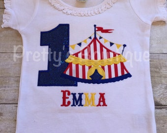 Girls Circus Birthday Shirt-- Circus Under the BIG tent shirt with AGE.  Perfect for a trip to the circus or a Circus party