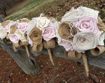 Wedding Bouquet, Blush Burlap Bouquet, Burlap Wedding Bouquet, Blush Bouquet, Blush Pink,  Burlap, Bride, Bridesmaid Bouquet, Toss Bouquet