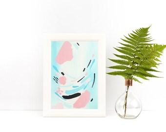 pastel abstract art- pastel art - pastel wall decor- acrylic on paper