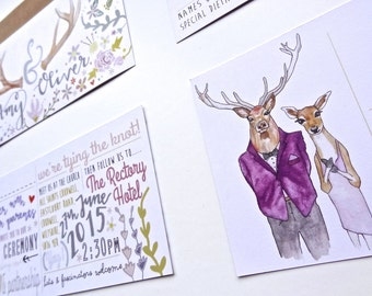 Wedding Invitations, Wedding Stationery, Custom invitations, Bespoke Invitations, Bespoke Stationery, Woodland Invitations, Deer, Wedding