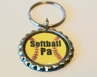 Unique Yellow Softball Pa Grandfather Metal Flattened Bottlecap Keychain Great Gift