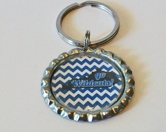 Blue and White Kentucky State Silhouette Go Wildcats Inspired Metal Flattened Bottlecap Keychain