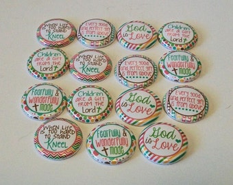 Pastel Stripes and Dots God is Love Christian Themed 1 Inch Flat Back Embellishments Buttons Flair