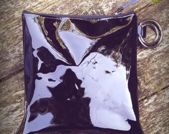 Black patent leather clutch bag-clutch bag