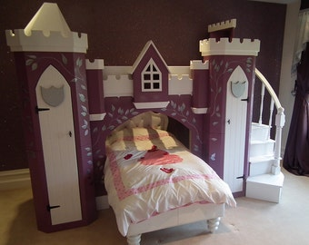 Children's Luxury Midnight Shimmer Princess Castle Bunk Bed with Stairs