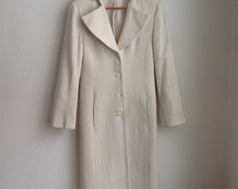 Wool Coat Ivory - Wool Coat - Gift for Her