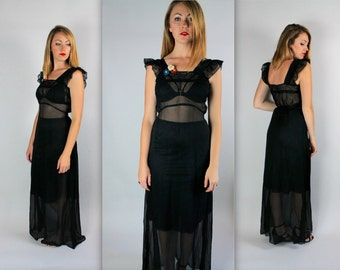 Vintage 1940's sheer CHIFFON black illusion Dress