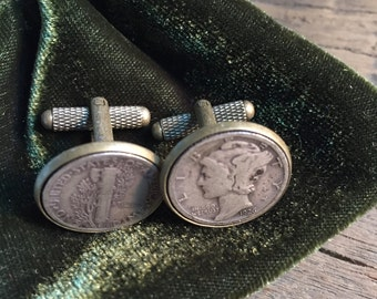1926 Heads and Tails Mercury Dime Cufflinks - Free Shipping in US