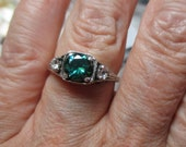 Ladies 1ct teal blue green genuine moissanite sterling filigree antique style ring with accents