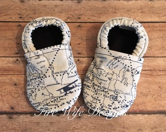 Air Traffic Control Navigator Tula Coordinating Baby Shoes, Crib Shoes, Baby Slippers, Baby Booties, Baby Mocs, Vegan Baby Shoes