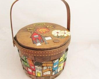 Vintage Wooden Basket Purse - 1970s