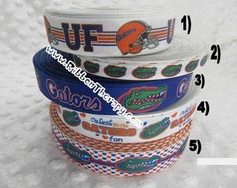 3 yards University of Florida - Gators - 3/8 inch, 7/8 inch or 1 inch Printed Grosgrain Ribbon