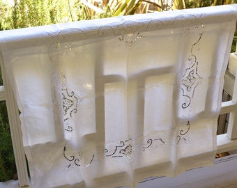 "Tablecloth Table Cloth Square 36""by36"" White Table Topper Vintage Linens"