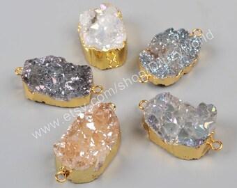 1 Pcs Gold Plated Natural Crystal Quartz Titanium Druzy Geode Slice Connector Double Bails Fashion Gemstone jewelry Natural Druzy G1036