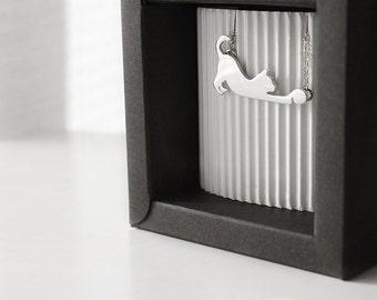 Handmade Silver Cat Pendant. Cat lover pendant.