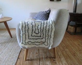 Sheep wool handfelted length pillow Dutch sheep Italian eco natural homedecor zen, from JJePa