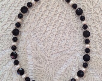 Black Onyx Necklace with Pearls and Crystals
