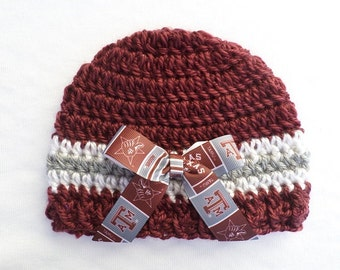 Baby Hat, Texas A&M, Crochet, Handmade, Newborn, 3-6 months