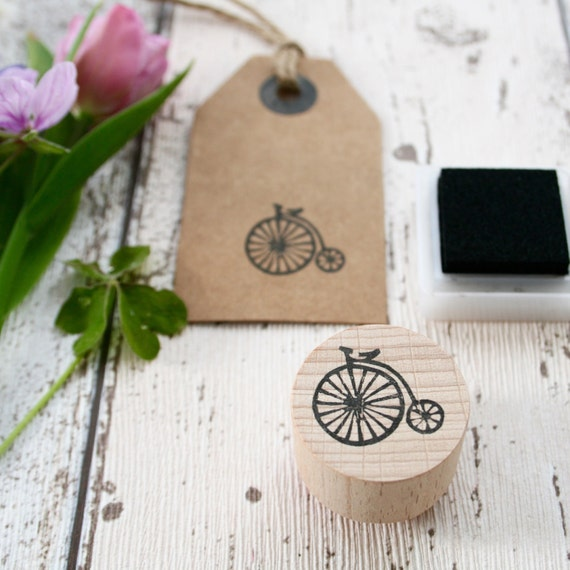 Vintage Penny Farthing Bike - Penny Farthing Stamp - Bike Stamp - Costomisable - Hand Carved Rubber Stamp - Little Stamp Store
