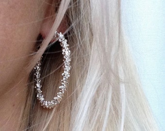 Gift 925 Sterling Silver Plated Stars Hoop Dangle Earring Wedding Party Earring Gift Bridal Accessories