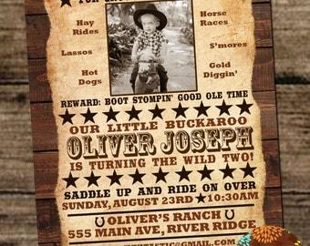 Cowboy Western Birthday Invitation - Kids Cowboy, Western, Wanted Themed Birthday Party. Custom Wanted Poster Invitation