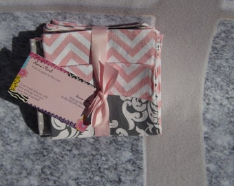 Set of three pink and grey burp cloth chevron and