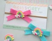 Felt Rainbow Bow - Five Dollar Friday - nylon headband - pink - aqua - baby - toddler - you pick - pigtail clips