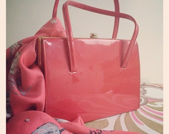 Sale* Vintage 1950s Red Patent Kelly Bag by Alligator - Red interior