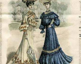 Vintage Clipart: Edwardian Ladies in the Park 1 (Digital Scan, Instant Download, Crafts, Image Transfer, Graphic Design)