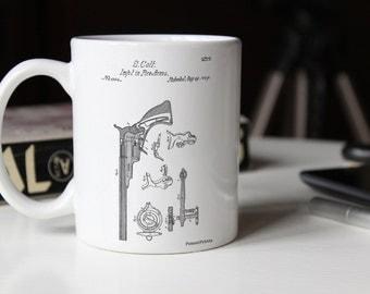Colt Paterson Patent Mug, Pistol, Revolver, Gun Enthusiast, Gun Mug, PP0409